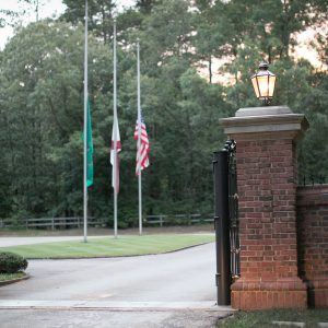 Flags at Half-Mast in front of Entrance Gate